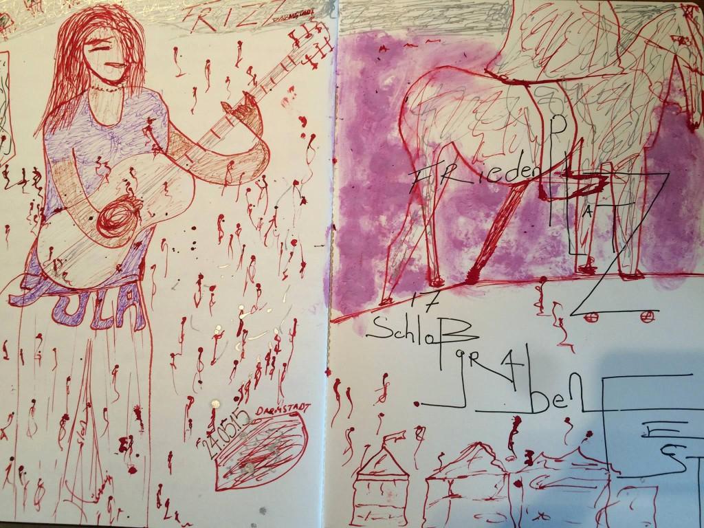 julakim als Inspiration beim Schloßgrabenfest in Darmstadt APR2015 - Zeichnung von HÜSEYIN ASLAN